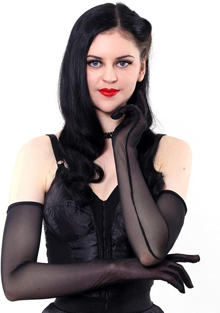 What Katie Did Long Sheer Black Gloves A2016 ONE SIZE: Clothing, Shoes & Jewelry