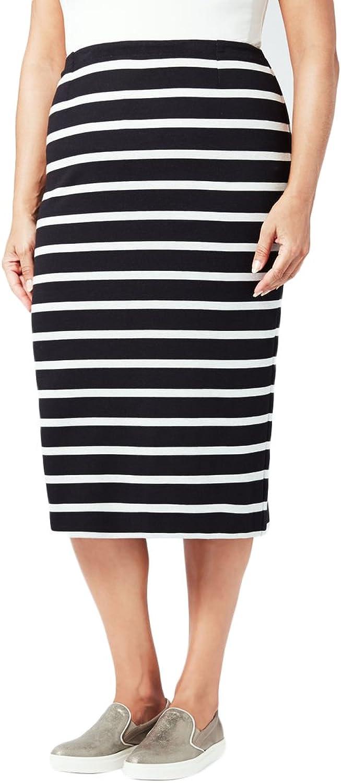 Marina Rinaldi Women's Occulto Striped Casual Skirt Navy White