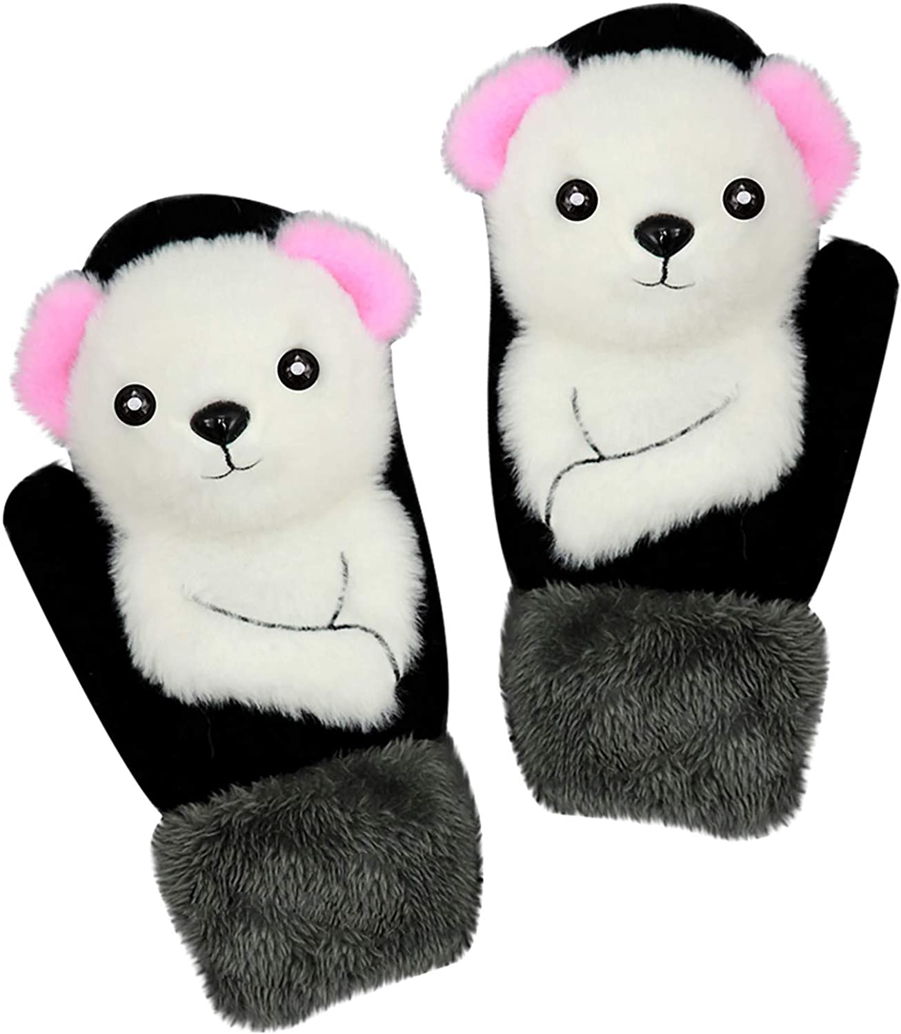 Women Knitted Plush Keeps Warm Gloves, Cartoon Animal Knitted Gloves Mittens for Autumn Winter