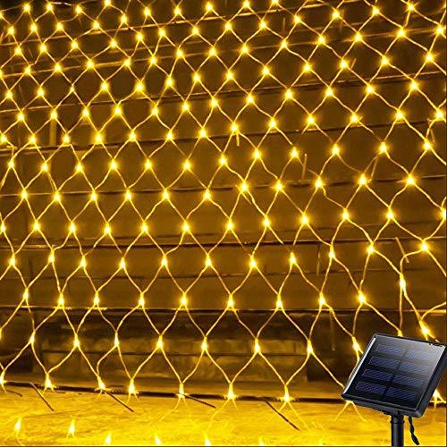 100LED Lichternetz Lichtervorhang,KINGCOO Wasserdicht 1,1Mx1,1M 8 Modi Solar Vorhang Licht Sternen Lichterketten Nachtlicht für Weihnachten Party Hochzeit Garten Wanddekorationen (Warmweiß)