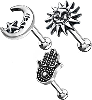 Antique Silver Plated Ear Cartilage Studs - Available in Hamsa Hand, Tribal Sun, Moon and Star