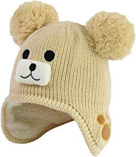 WOCACHI Baby Knitted Crochet Fleece Lined Beanie Cap Infant Girls Boys Pom Pom Hairball Winter Warm Earmuffs Hats