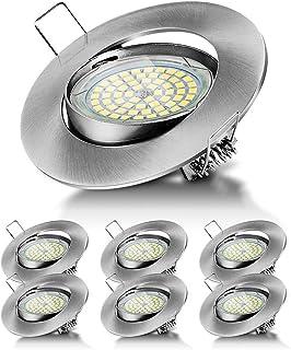 6 Pack Spots LED Encastré GU10 5W 500lm Spots de Plafond AC 230V Blanc Froid 6000K Lampe Plafonnier Projecteur Encastrable...