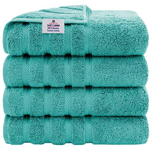 American Soft Linen Premium, Turkish Cotton Towel Set Luxury Hotel & Spa Quality for Maximum Softness & Absorbency (4-Piece Bath Towel Set, Turquoise Blue)