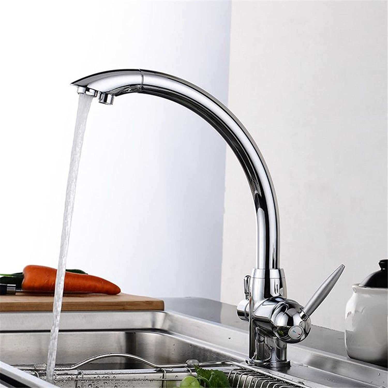 Commercial Lever Pull Down Kitchen Sink Faucet Brass Multifunctional 3 with Pure Water Kitchen Faucet Copper Chrome Hot and Cold Water Faucet Lead-Free Environmental Health Health Sink Basin Faucet