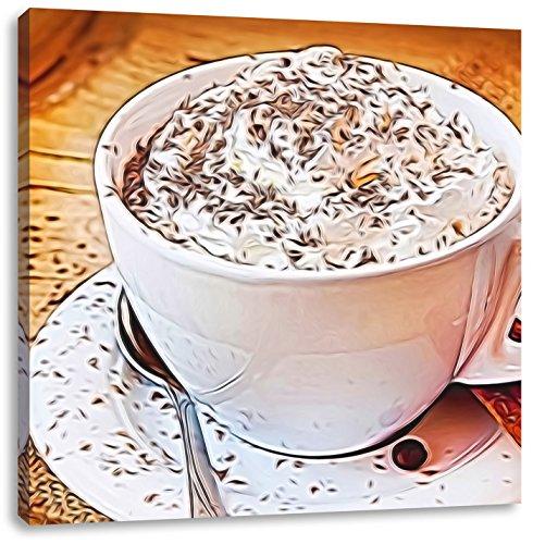 Koffie met slagroomCanvas Foto Plein | Maat: 70x70 cm | Wanddecoraties | Kunstdruk | Volledig gemonteerd
