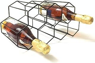 Countertop Wine Rack - 9 Bottle Wine Holder for Wine Storage - No Assembly Required - Modern Black Metal Wine Rack - Wine ...