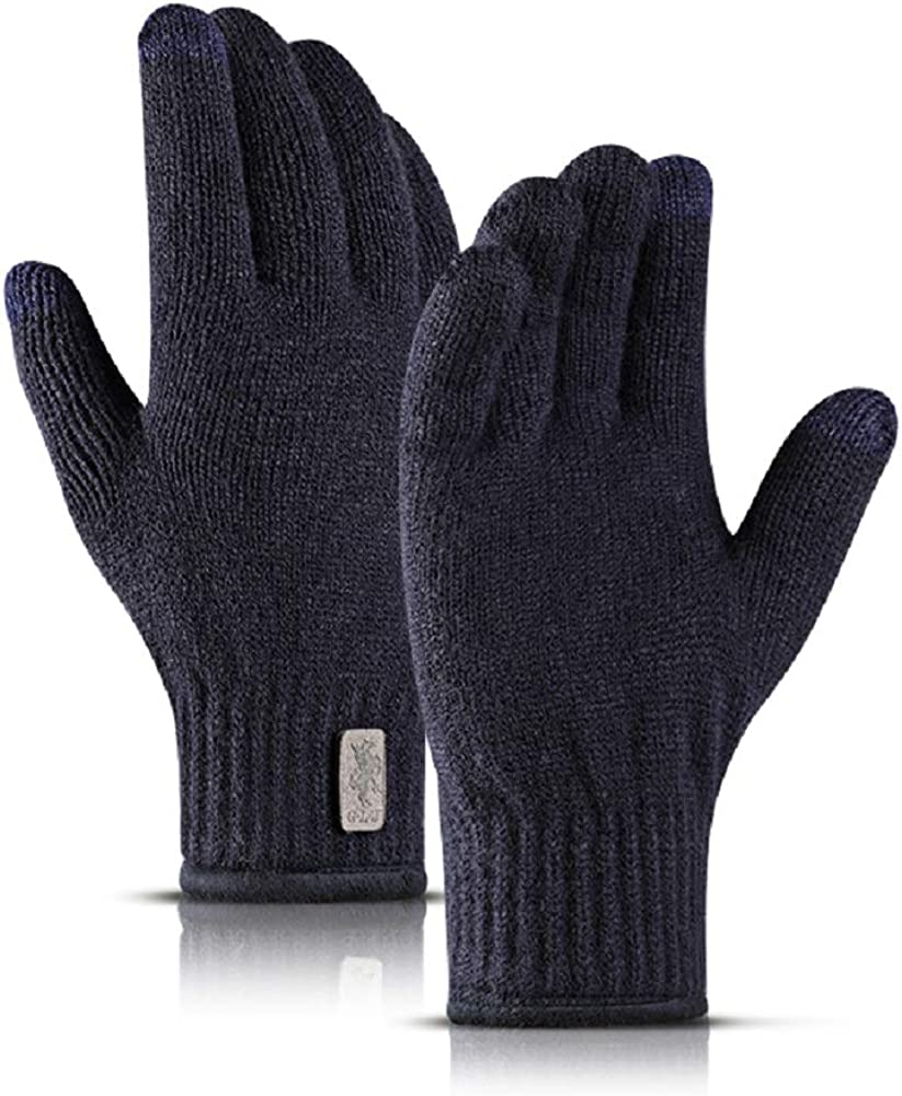 MAOSEMSI Winter Gloves for Men and Women, Knit Touch Screen Gloves Anti-Slip Thermal Soft Lining Elastic Cuff Texting Gloves