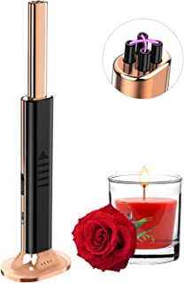RONXS Candle Lighter Upright Double Plasma Lighter USB Lighter with LED Battery Display Safety Switch for Birthday Party Indoors Home Giftbox Champagne