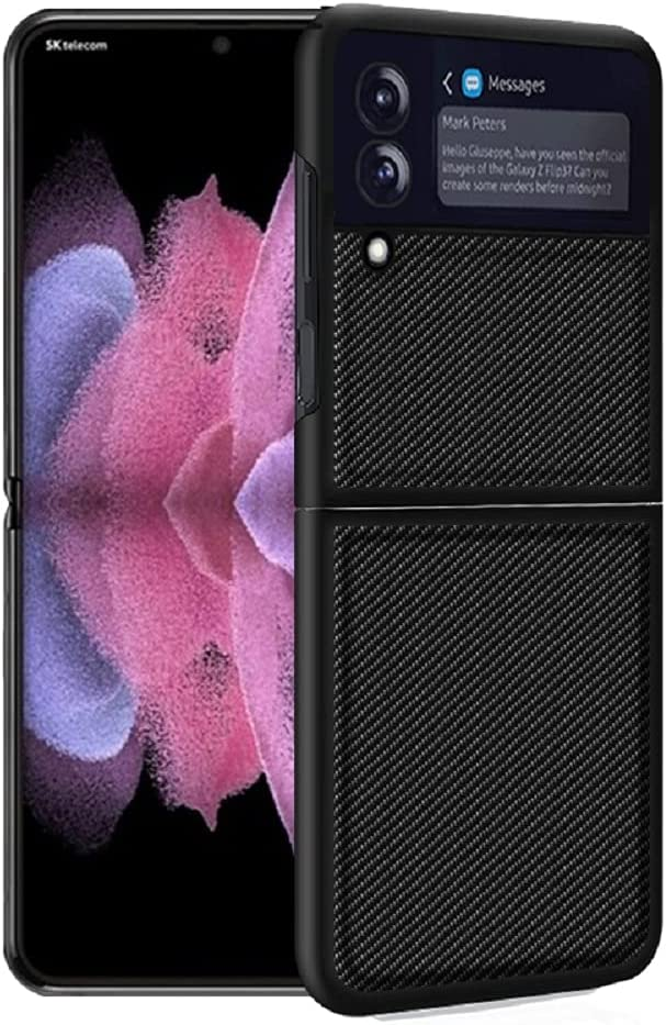 for Samsung Galaxy Z Flip 3 5G Case,Carbon Fiber Case Cover PU Leather Hard PC Anti-Scratch ShookProof Bumper Case for Samsung Galaxy Z Flip 3 5G (Black)