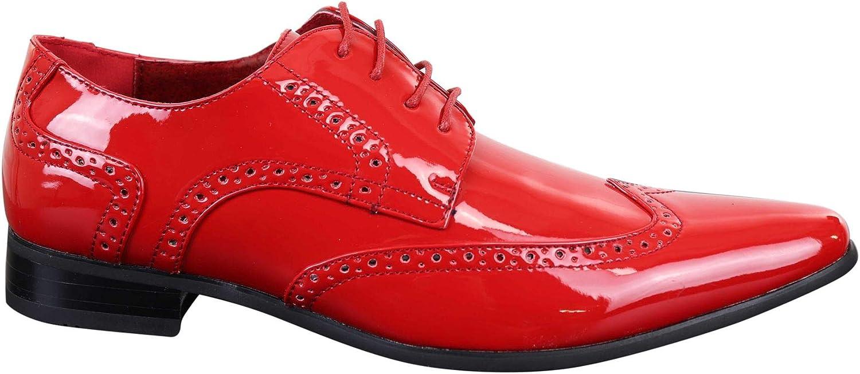 Rossellini Herrenschuhe Vintage Glnzend Rot Schnürsenkel Muster Design