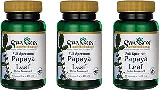 Swanson Full Spectrum Papaya Leaf 400 mg 60 Caps 3 Pack