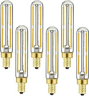 Dimmable T6 LED Bulbs, 4W E12 Edison Tube Light Bulbs Warm White 2700K, 60W Candelabra Incandescent Bulbs Equivalent, Clear Glass, Filament Tubular Light Bulb.(6 Pack)