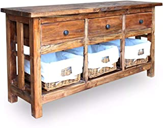 Festnight Vintage Buffet Sideboard, Antique Handmade Storage Cabinet Table with 3 Drawers 3 Removable Baskets, Solid Reclaimed Wood