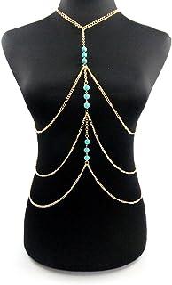 LUFA Retro Bikini donne catena corpo catena Turchese Bikini Croce pancia della vita del corpo
