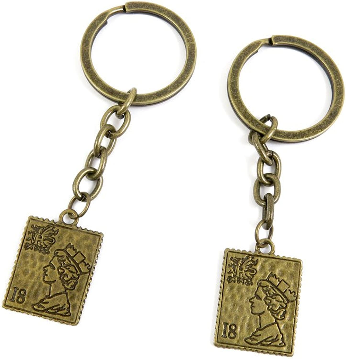 100 PCS Keyrings Keychains Key Ring Chains Tags Jewelry Findings Clasps Buckles Supplies K7KO5 Queen Stamp
