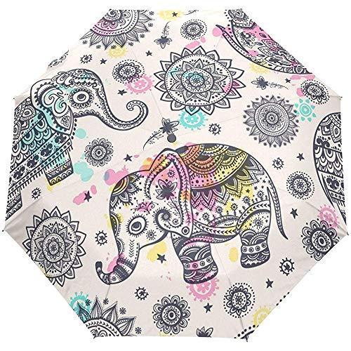 Elefante Turco Bohemio Vintage Lotus Mandala Auto Abrir Cerrar Sun Rain Paraguas