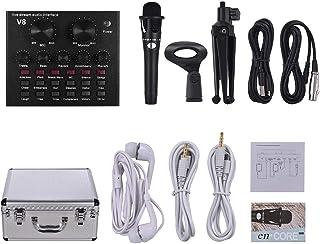 Muslady Tarjeta de Sonido Externa Interfaz de Audio USB + Micrófono de Condensador Alámbrico + Micrófono Soporte para Trípode de Escritorio + Monitor Auricular con Funda de Aleación de Aluminio