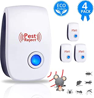 4 Packs Ultrasonic Pest Repeller, Home Pest Control Repellent Plug In Electronic Nontoxic Insects & Rodents Reject for Mos...