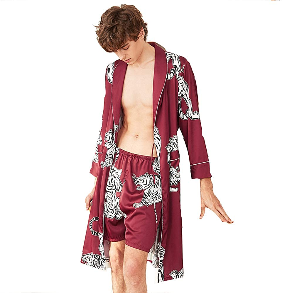 Jin Xi Men's Kimono Robe with Shorts Summer Long Sleeve Silk Satin Bathrobes Dragon Printing