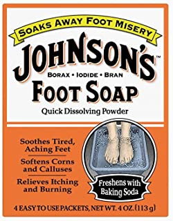 Johnson's Foot Soap Quick Dissolving Powder, 16 Packets (Pack of 4)