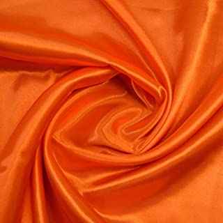 "mds Pack of 15 Yard Charmeuse Bridal Solid Satin Fabric for Wedding Dress Fashion Crafts Costumes Decorations Silky Satin 44""- Orange"