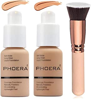 2 Colors Phoera Foundation 104 & 105 Full Coverage Foundation Liquid Makeup with Foundation Brush, Matte Oil Control Facial Blemish Concealer Foundation for Women (104#Buff Beige&105#Sand)