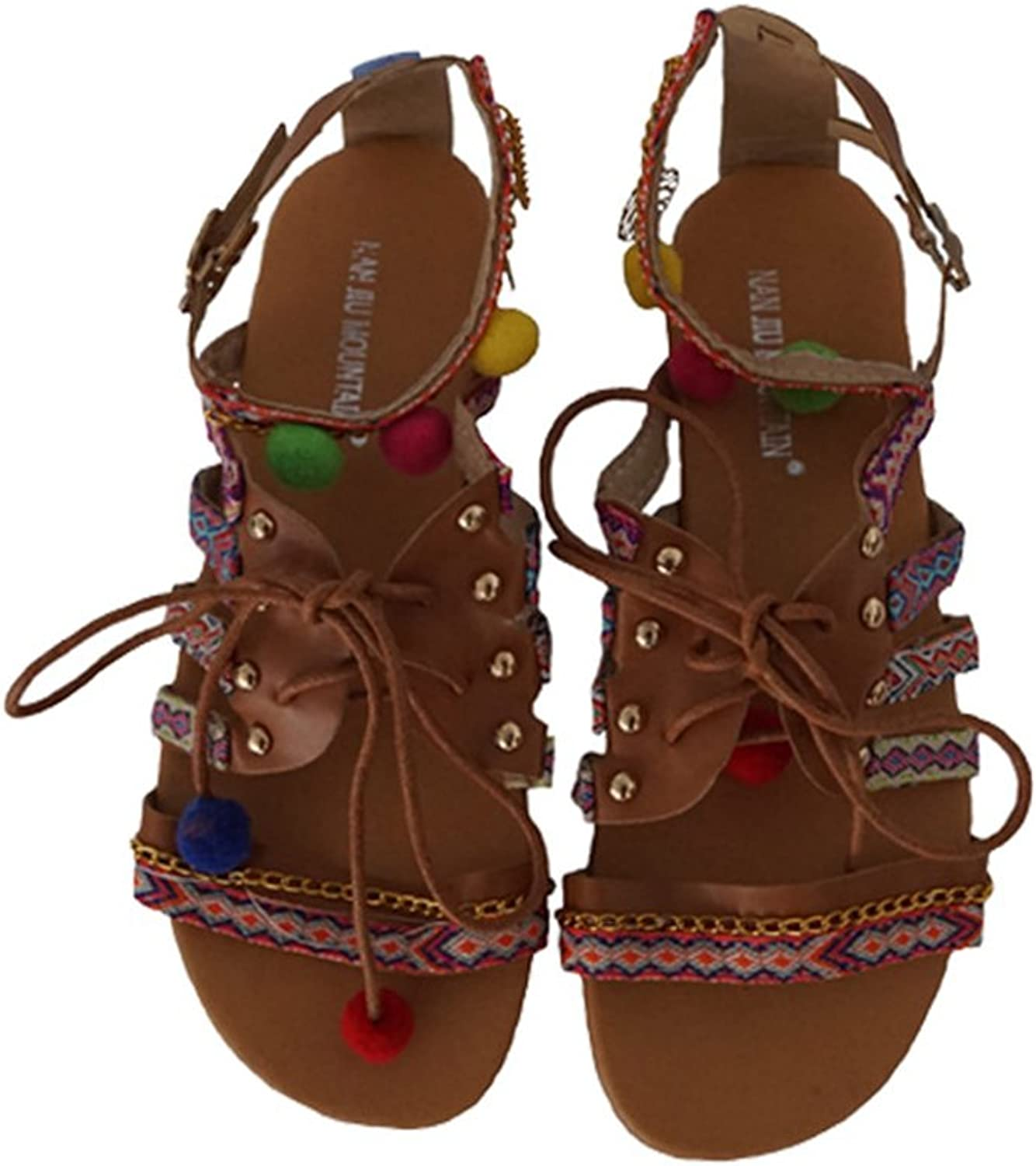 Womans Sandals Ethnic Bohemian Pompon Gladiator Strappy Embroidered Flat Sandals