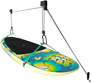 StoreYourBoard SUP and Surfboard Ceiling Storage Hoist, Hi Lift Home and Garage Hanging Pulley Rack