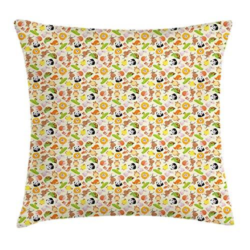 SSHELEY Zoo Throw Pillow Cushion Cover, Cartoon of Happy Nursery Animals Tortoise Fox Owl Lion Pand-a Bunny Snail Pillow Case