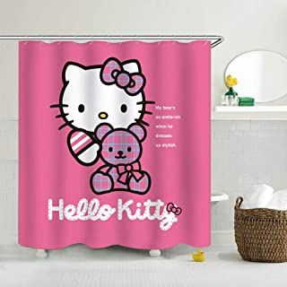 lovedomi Cute Cartoon Little Princess Hello Kitty Waterproof Bathroom Shower Curtain Dormitory Decoration Bathroom Curtain Polyester Waterproof Fabric Including 12 Plastic Hooks 71x71inch