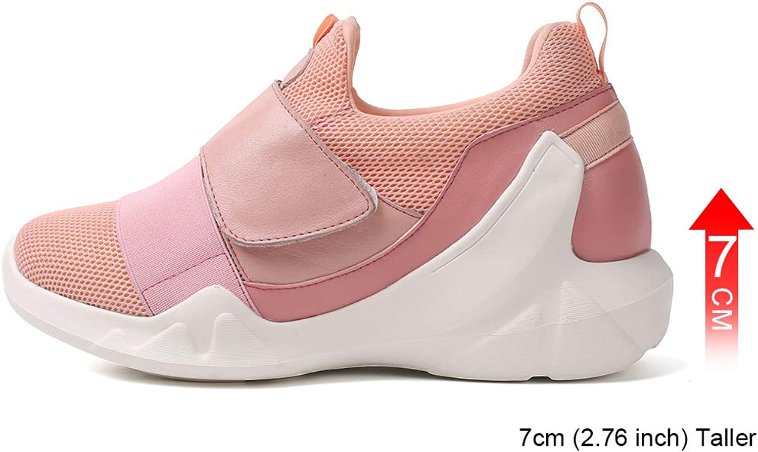 Hesion Increased Women's shoes Stretch Fabric Fashion New Casual Increase Sports shoes 7 cm Pink