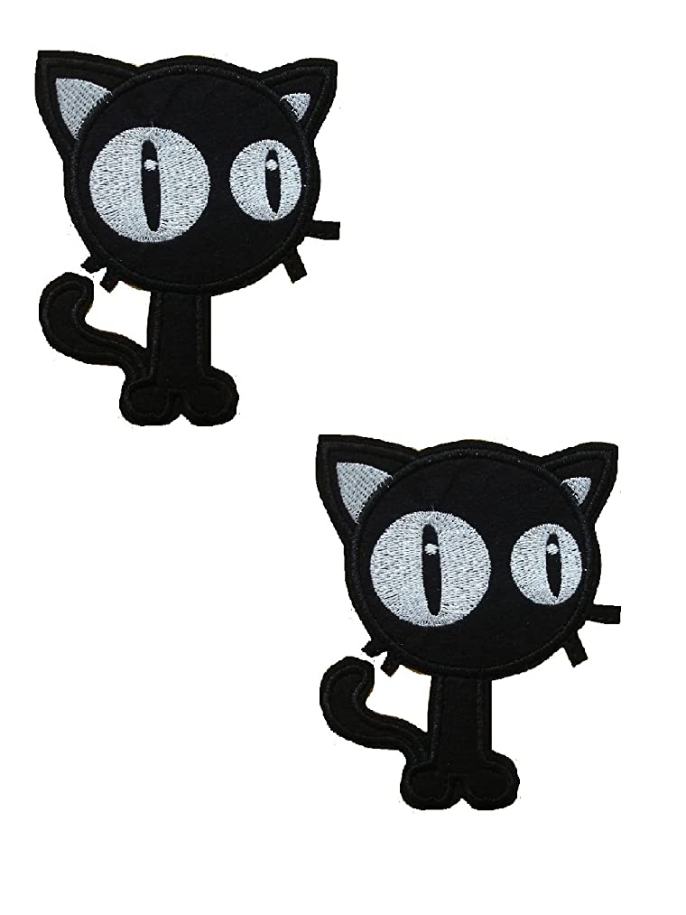 2 pieces BIG-EYED CAT Iron On Patch Fabric Applique Motif Decal 4 x 3.4 inches (10 x 8.5 cm)