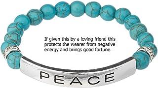 Jewelry Nexus Blue Beads Peace Friendship Silvertone Stretch Bracelet & Crystals Stretch Bracelet