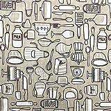 Kt KILOtela Tela de loneta Estampada - Retal de 100 cm Largo x 280 cm Ancho | Menaje Cocina - Blanco, Beige ─ 1 Metro