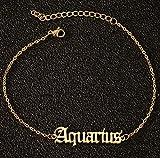 WEIYYY Best Gift English Letter Zodiac Charm Tobillera Tobillera para Mujer Joyería de Moda, Acuario, Plata
