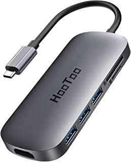 HooToo USB C Hub, 7 in 1 USB C to 4K HDMI Adapter with 100W PD Charging, 3 USB 3.0 Ports, SD/TF Card Readers for MacBook/P...