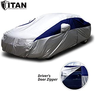 Titan Lightweight Car Cover (Navy Blue) for Toyota Camry, Mustang, and More. Waterproof Car Cover Measures 200 Inches, Comes with 7 Foot Cable and Lock. Features a Driver-Side Zippered Opening.