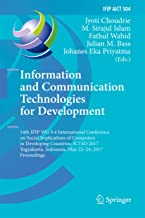 Information and Communication Technologies for Development: 14th IFIP WG 9.4 International Conference on Social Implicatio...