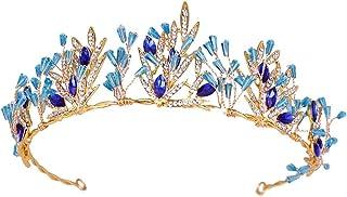 FELICILII Corona di Cristallo Blu Fascia for Capelli Sposa Copricapo Compleanno Corona Regalo Diadema d'oro