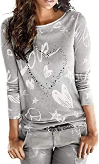 comprar comparacion SHOBDW Mujeres Camiseta de Manga Larga con Cuello Redondo y Camisa Impresa Moda Casual Primavera Otoño Blusa Algodón Suelt...