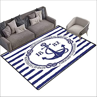 Dining Table Rugs Anchor,Old Authentic Nautical Emblem with Anchor on a Striped Background Freedom Heritage,White Blue 64