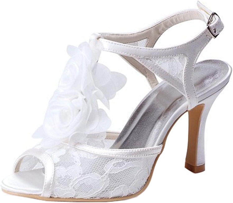Minishion GYMZ657 Womens Stiletto Heel Lace Evening Party Bridal Wedding Sandals