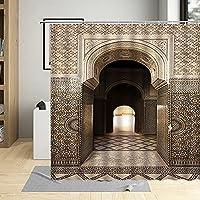 AFDSJJDK バスタオル シャワーカーテン熟成ゲート幾何学模様スタイル壁の装飾フック付きウォータースクリーン吊りカーテン