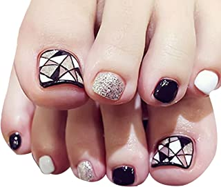 Monique Women 24 Pack Fake Toes Nail Patch Sticker Feet Patch Toenails Stickers Press on Nail with Glue Black White