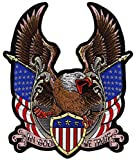 Federal Eagle Shield Patch | US Flag Military Patriotic 'In God We Trust' | Embroidered Iron On Large - by Nixon Thread Co. (12.5')