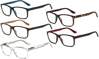 Eyekepper 5 Pairs Reading Glasses Classic Rectangular Frame Mens Womens Spring Hinges (One for each color, 2.00)