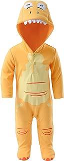 AiAiBear Baby's Cartoon Pajama Dinosaur Onesie Jumpsuit 100 Cotton Long Sleeve Romper Outwear