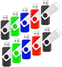 RAOYI 10 Pack 8GB Swivel USB Flash Drive Metal Thumb Drives Pen Drive USB 2.0 Bulk Flash Drive Memory Stick(Black/Red/Blue/Green,4 Mixed Colors)