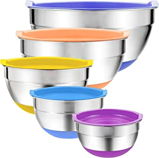 Mixing Bowls with Airtight Lids, 5 piece Stainless Steel Metal Bowls, Measurement Marks & Colorful Non-Slip Bottoms Size ...